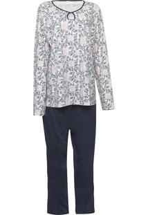 Pijama Pzama Estampado Off-White/Azul-Marinho