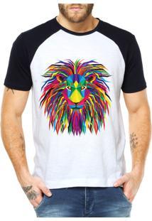 Camiseta Criativa Urbana Leão Psicodélico Branco