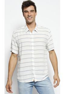 Camisa Slim Fit Listrada - Branca & Azul - Ogochiogochi