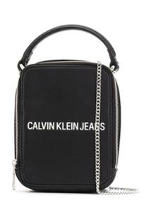 Ck Calvin Klein Logo Embossed Messenger Bag - Preto