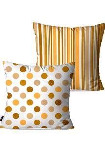 Kit Com 2 Capas Para Almofadas Pump Up Decorativas Ocre Poá Listras 45X45Cm
