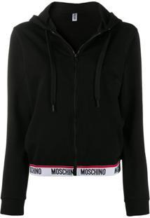 Moschino Cardigan Com Logo - Preto