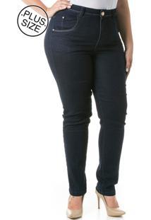 190f04a49 ... Calça Jeans Plus Size - Confidencial Extra Cigarrete Acetinado Azul