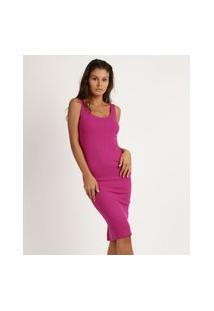 Vestido Feminino Midi Canelado Alça Larga Pink