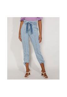 Calça Jeans Feminina Jogger Cintura Super Alta Com Recortes E Faixa Para Amarrar Azul Claro