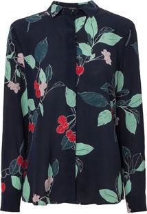 Camisa Le Lis Blanc Luciana Seda Estampado Feminina (Cherry Print Marinho, 34)