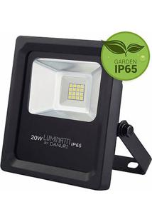 Refletor Projetor Slim Led Luz Branca Bivolt 20W - Lm244 - Luminatti - Luminatti