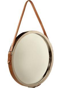 Espelho Louise Redondo De Parede Com Alça De Couro