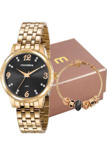 Kit Relógio Mondaine Feminino Com Pulseira 99358Lpmkde0K2