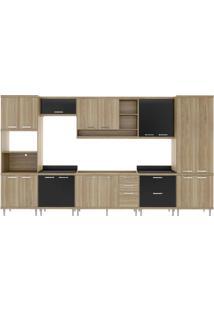 Cozinha Compacta Multimóveis Sicília 5832.132.080.610 Argila Preto Se