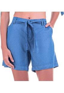 Bermuda Jeans Leve Média Com Cinto - Feminino-Azul