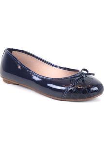 Sapatilha Tag Shoes Croco Laço Verniz Feminino - Feminino-Azul