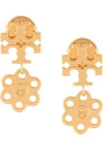 Tory Burch Par De Brincos Com Pingente De Logo - Dourado