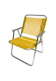 Cadeira De Praia Botafogo Varanda El Alumínio Amarela