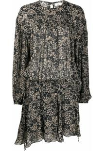 Isabel Marant Étoile Vestido Mangas Longas Com Estampa Floral - Preto