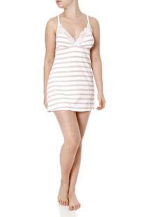 Camisola Feminina Com Calcinha Off White/Rosa