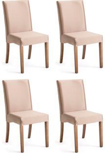 Conjunto Com 4 Cadeiras De Jantar Margaret Dourado E Imbuia