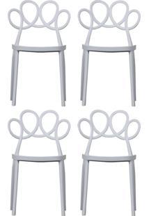 Kit 04 Cadeiras Decorativas Para Cozinha Laço Branco - Gran Belo - Tricae