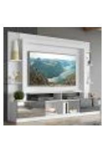 "Rack C/ Painel E Suporte Tv 65"" Portas C/ Espelho Oslo Multimóveis Branco/Preto"