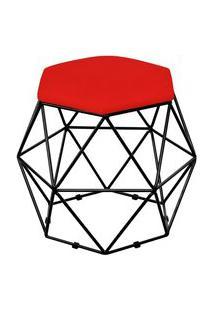 Puff Decorativo Aramado Preto Six Suede Vermelho - Lyam Decor