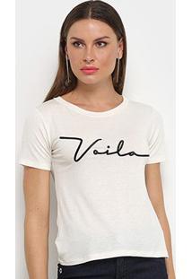 Camiseta Aura Voilá Feminina - Feminino-Off White