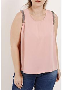 Blusa Regata Plus Size Feminina Rosa