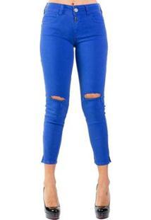 263f81abe R$ 333,00. Zattini Calça Sarja Skinny Destroyed Color Colcci - Feminino-Azul