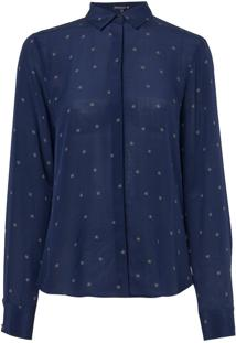 Camisa Dudalina Manga Longa Seda Estampa Estrela Feminina (Estampado Estrela, 44)