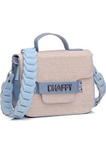 Bolsa Dhaffy Alça De Mão E Transversal Artesanal Palha Feminina - Feminino-Azul