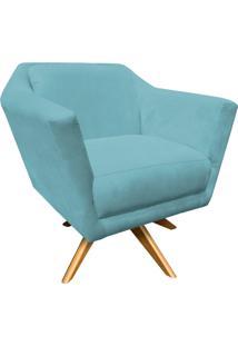Poltrona Decorativa Lorena Suede Azul Tiffany Com Base Giratória De Madeira - D'Rossi
