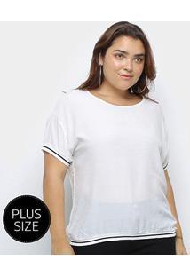 Blusa Heli Plus Size Listra Bicolor Manga Curta Feminina - Feminino-Branco