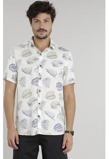 Camisa Masculina Estampada De Folhagem Manga Curta Off White