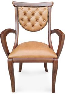 Cadeira Com Braço Viena Estofada Madeira Maciça Design Italiano