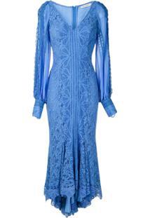 Martha Medeiros Vestido Midi Agatha Rendado - Azul