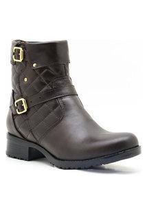 Bota Casual Atron Shoes Couro Feminina Matelassê Flexível Marrom 40 Café