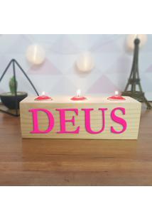 Cubo Decorativo Com Velas E Letras Em Acrílico Deus