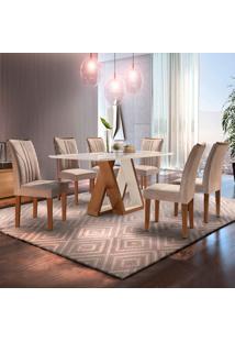 Conjunto De Mesa De Jantar Belle Com Vidro E 6 Cadeiras Suede Chocolate E Off White