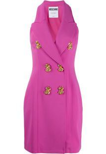 Moschino Vestido Curto Com Botões Decorativos - Rosa