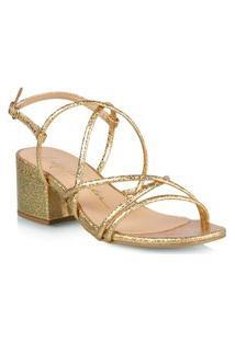 Sandália Salto Baixo Dourada