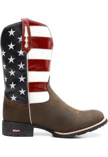 Bota Texana Bandeira Eua Bico Redondo 0903 - Masculino-Marrom+Azul