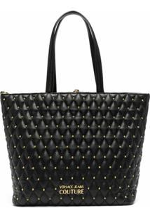 Versace Jeans Couture Bolsa Tote Matelassê Com Tachas - Preto