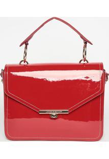 Bolsa Em Couro Envernizada- Vermelha- 26X29X10Cmjorge Bischoff
