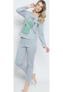 Pijama Cacto- Cinza & Verde- Zulaizulai