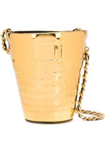Moschino Bolsa Bucket Metalizada - Dourado