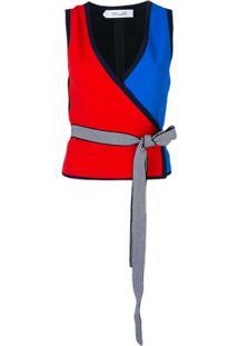Diane Von Furstenberg Blusa Sem Mangas Color Block - Preto