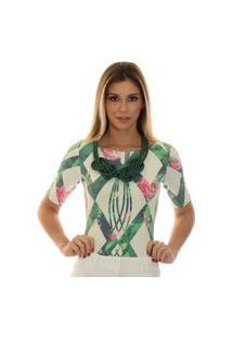 Blusa Ficalinda Proteção Solar Uv Meia Manga Geométrica Verde Com Flores Decote Canoa