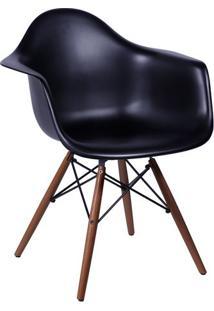 PoltronaâEames Com Braã§Os- Preta & Marrom Escuro- 82Or Design
