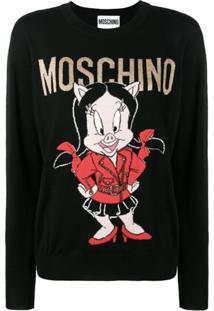 Moschino Suéter Com Logo - Preto
