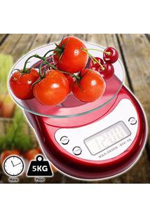 Balança De Precisão Digital Para Cozinha Luxo 5 Kgs Vermelho Cbrn01675