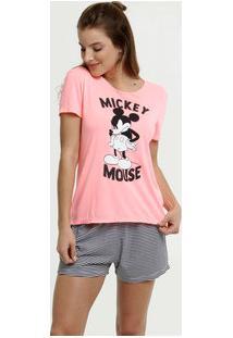 Pijama Feminino Neon Estampa Mickey Disney